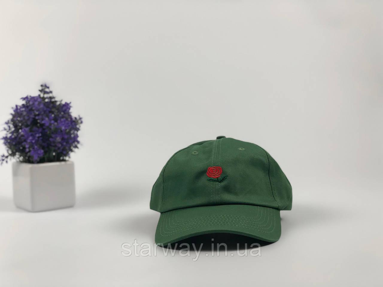 Кепка тёмно-зелёная Hundreds Rose логотип вышивка