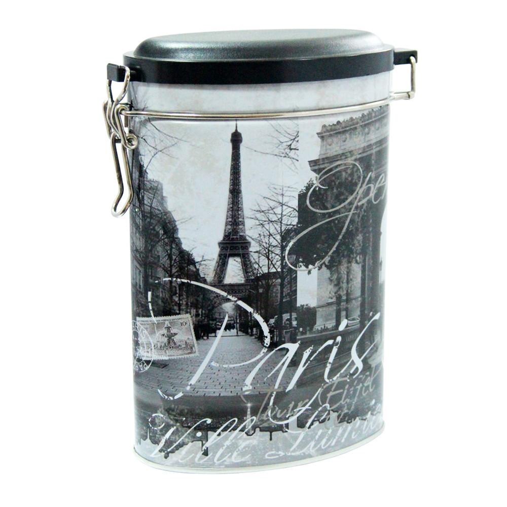 Овальная жестяная банка с клипсой Париж, 400г ( контейнер для сыпучих )