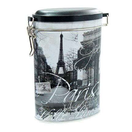 Овальная жестяная банка с клипсой Париж, 400г ( контейнер для сыпучих ), фото 2
