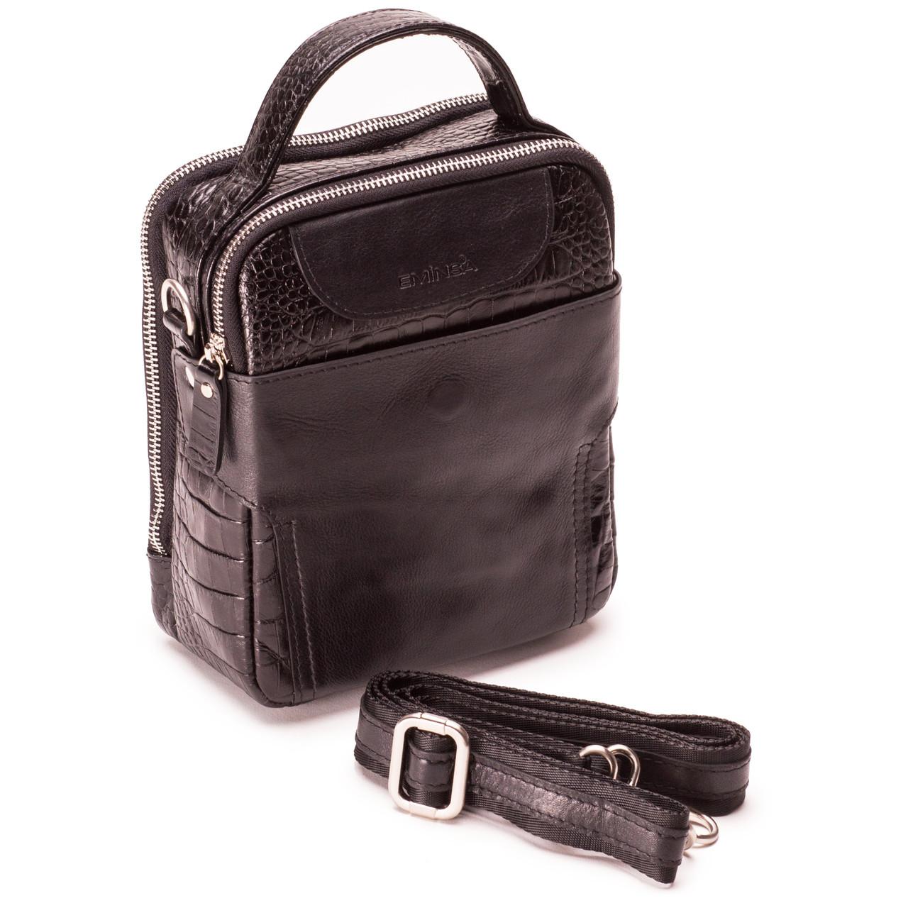 Мужская сумка барсетка Eminsa 6002-4-1 кожаная черная