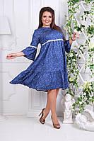 Нарядное платье из тонкого джинса+кружево в размерах 50-54, фото 1