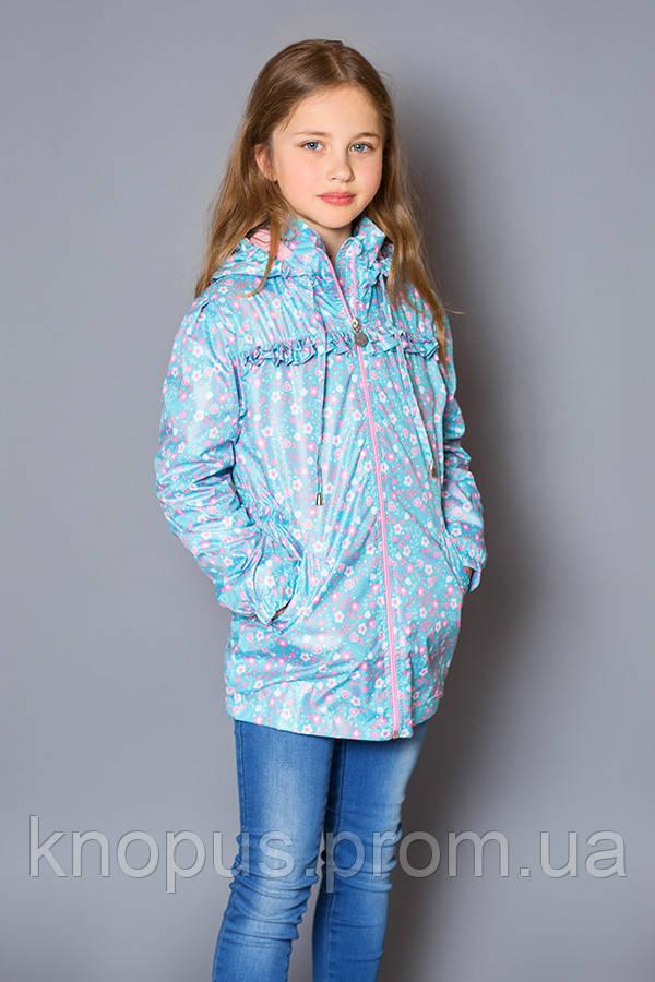 Куртка-ветровка детская для девочки, голубая (размер 122-128), Модный карапуз