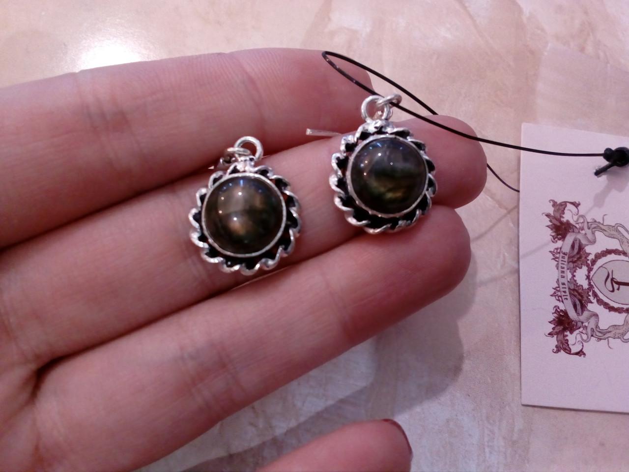Серьги - натуральный лабрадор. Серьги с натуральным камнем лабрадор в серебре., фото 1