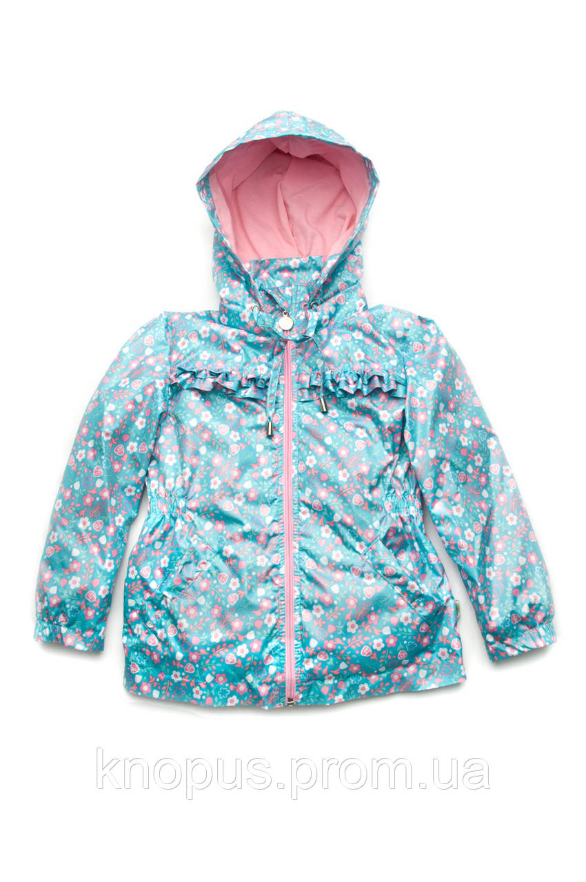 Куртка-ветровка детская для девочки, голубая (размер 98-116), Модный карапуз
