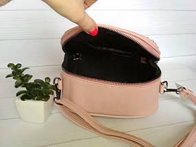 Стильная сумочка с металлическими заклепками пудрового цвета, фото 3