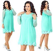 Платье с жемчугом и кружевом. Мята, 4 цвета. Р-ры: 48,50,52,54.