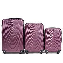 Надежный чемодан пластиковый из поликарбоната средний 60 л бордовый  WS403-12, фото 2