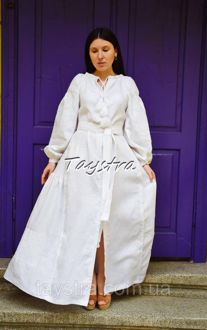 Платье вышитое бохо, этно вышиванка лен стиль бохо шик, вышиванка белым по белому, стиль Вита Кин