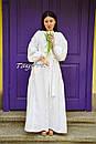 Платье вышитое бохо, этно вышиванка лен стиль бохо шик, вышиванка белым по белому, стиль Вита Кин, фото 2