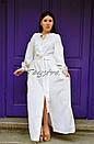 Платье вышитое бохо, этно вышиванка лен стиль бохо шик, вышиванка белым по белому, стиль Вита Кин, фото 3