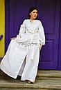 Платье вышитое бохо, этно вышиванка лен стиль бохо шик, вышиванка белым по белому, стиль Вита Кин, фото 4