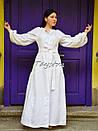 Платье вышитое бохо, этно вышиванка лен стиль бохо шик, вышиванка белым по белому, стиль Вита Кин, фото 5