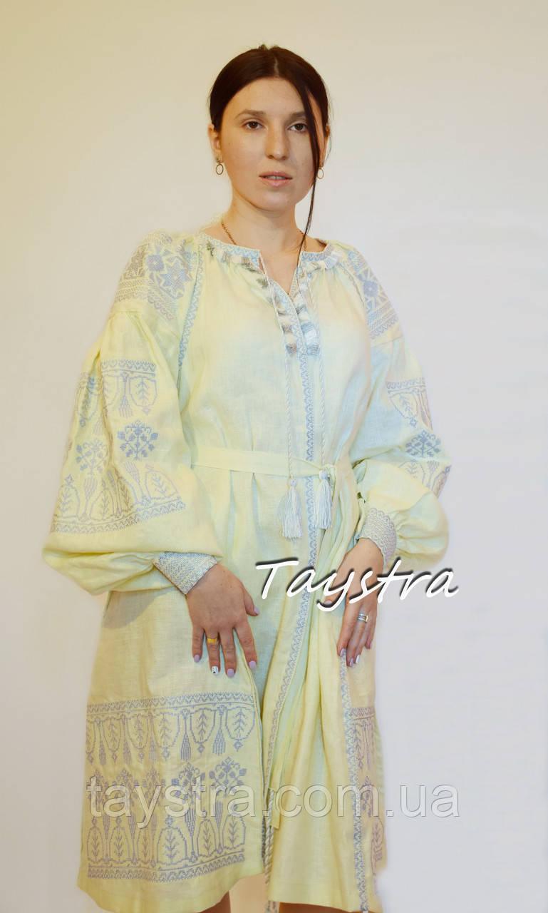 3087d91d0cd2f6 Бохо платье вышитое, вышиванка лен, этно стиль бохо шик, бежевое короткое  платье,
