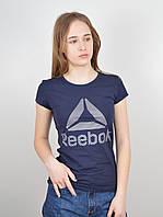 """Женская футболка """"Reebok"""" R18005 синий+серебро, фото 1"""