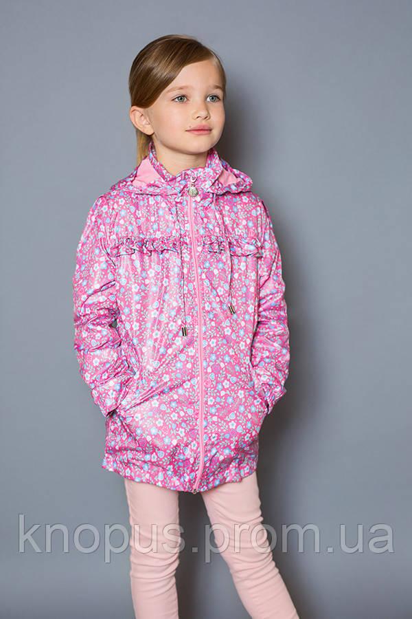 Куртка-ветровка детская для девочки, розовая (размер 122-134), Модный карапуз