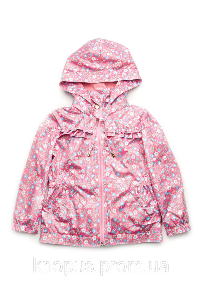 Куртка-ветровка детская для девочки, розовая (размер 98-116), Модный карапуз
