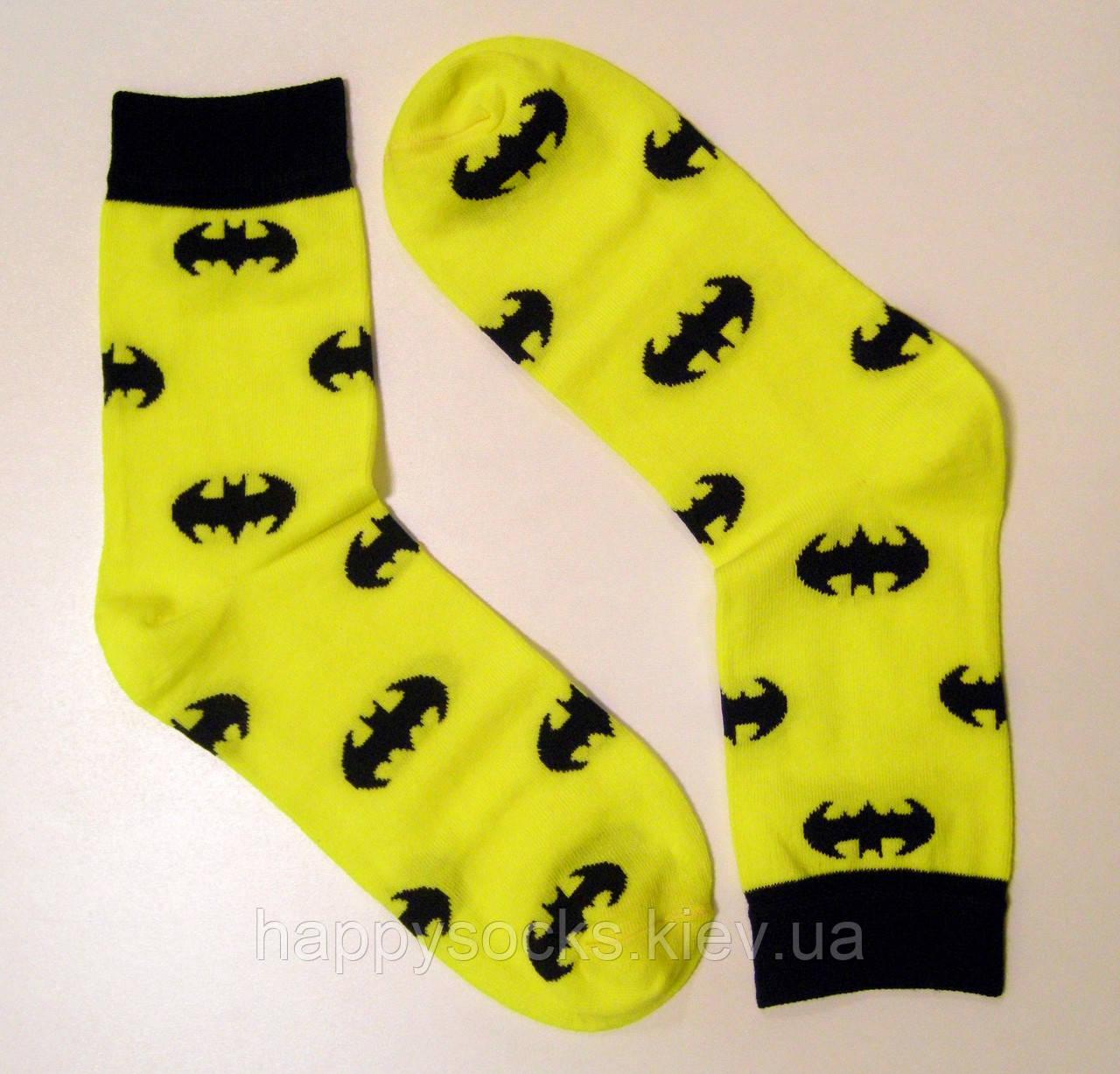 Кольорові високі чоловічі шкарпетки бетмен жовтого кольору