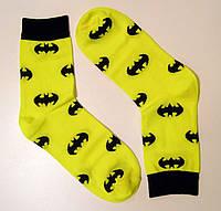 Кольорові високі чоловічі шкарпетки бетмен жовтого кольору, фото 1