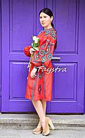 Платье в цыганском стиле, вышиванка лен, этно стиль бохо шик, вишите плаття вишиванка, красное платье, фото 1