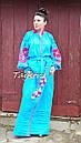 Бирюзовое вечернее платье вышитое, бохо вышиванка лен, этно, бохо шик, на свадьбу, выпускное платье, фото 5