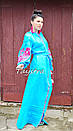 Бирюзовое вечернее платье вышитое, бохо вышиванка лен, этно, бохо шик, на свадьбу, выпускное платье, фото 6