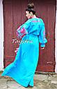 Бирюзовое вечернее платье вышитое, бохо вышиванка лен, этно, бохо шик, на свадьбу, выпускное платье, фото 2