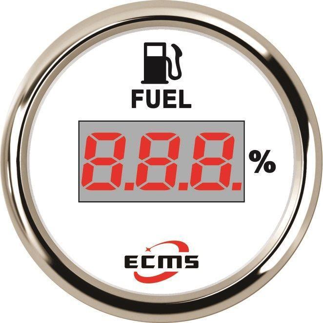 Указатель уровня топлива цифровой ECMS CEF2-WS-240-33 52мм белый