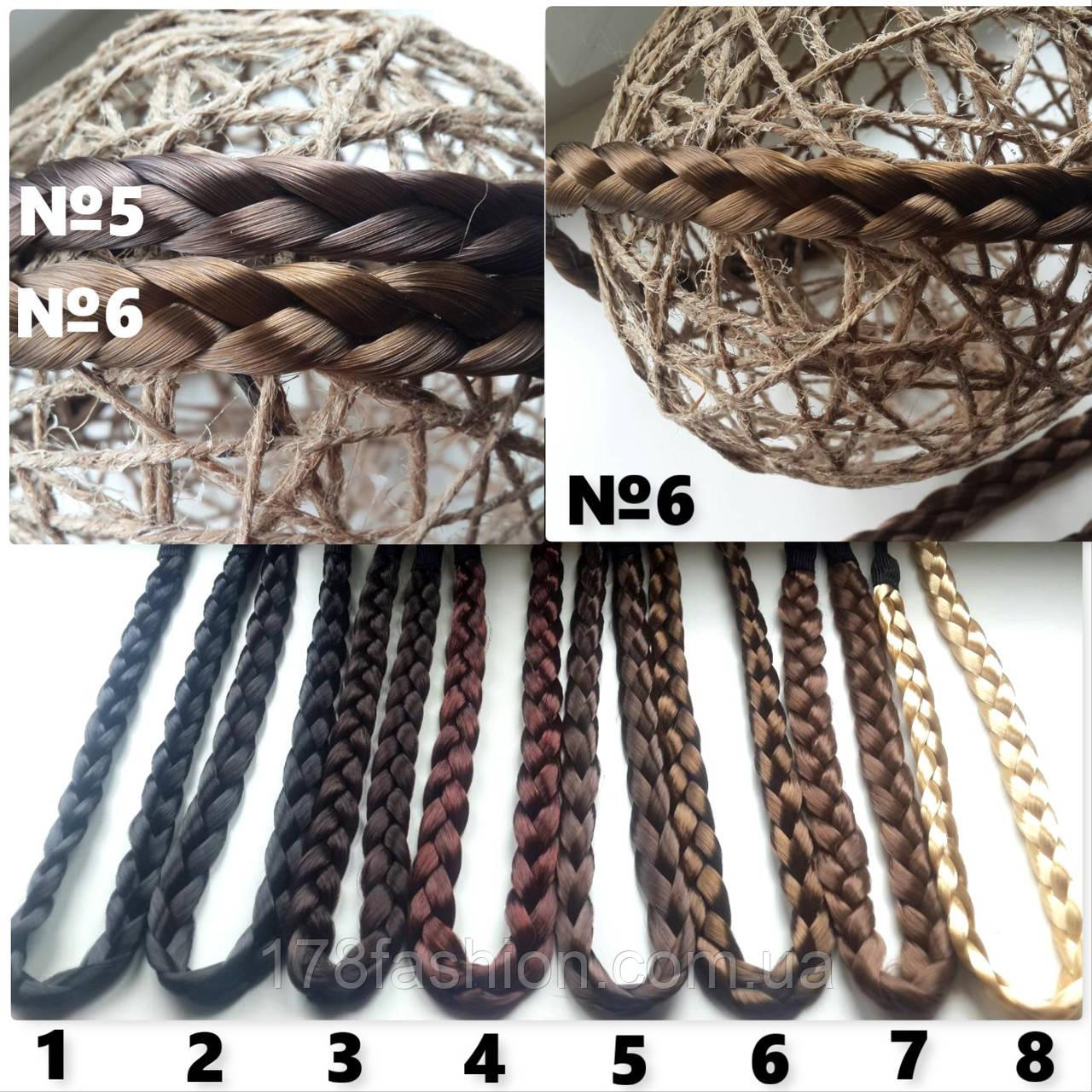 Повязка-ободок косичка из искусственных волос для греческой прически №6