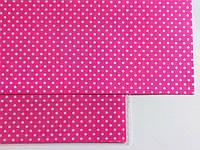 Ткань на клеевой основе 20*30 см ярко розовая в горошек