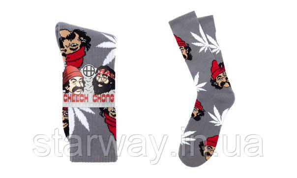 Носки HUF Cheech Chong высокие | Светло-серые с белым листом