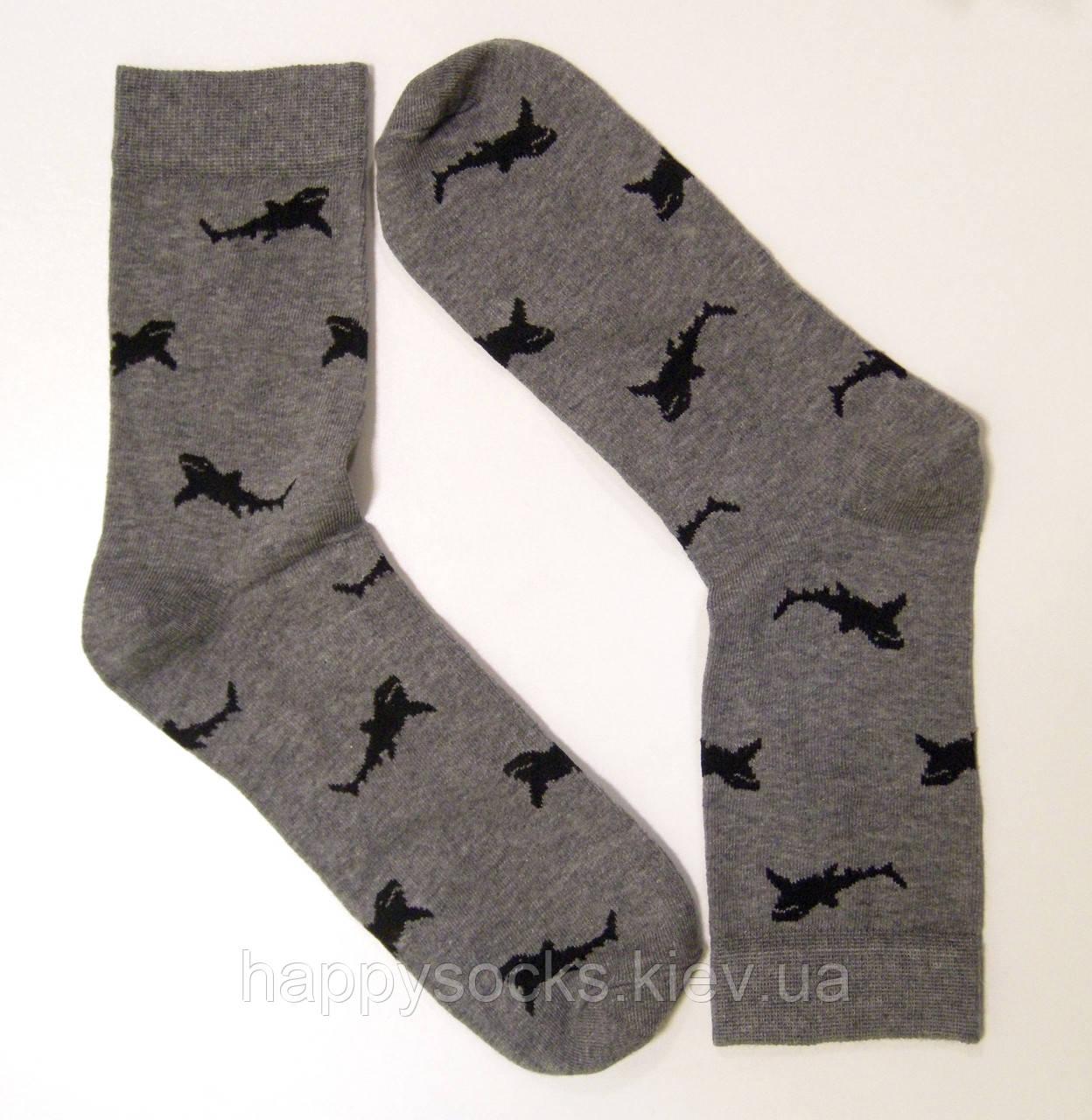 Мужские высокие носки с рисунком акулы