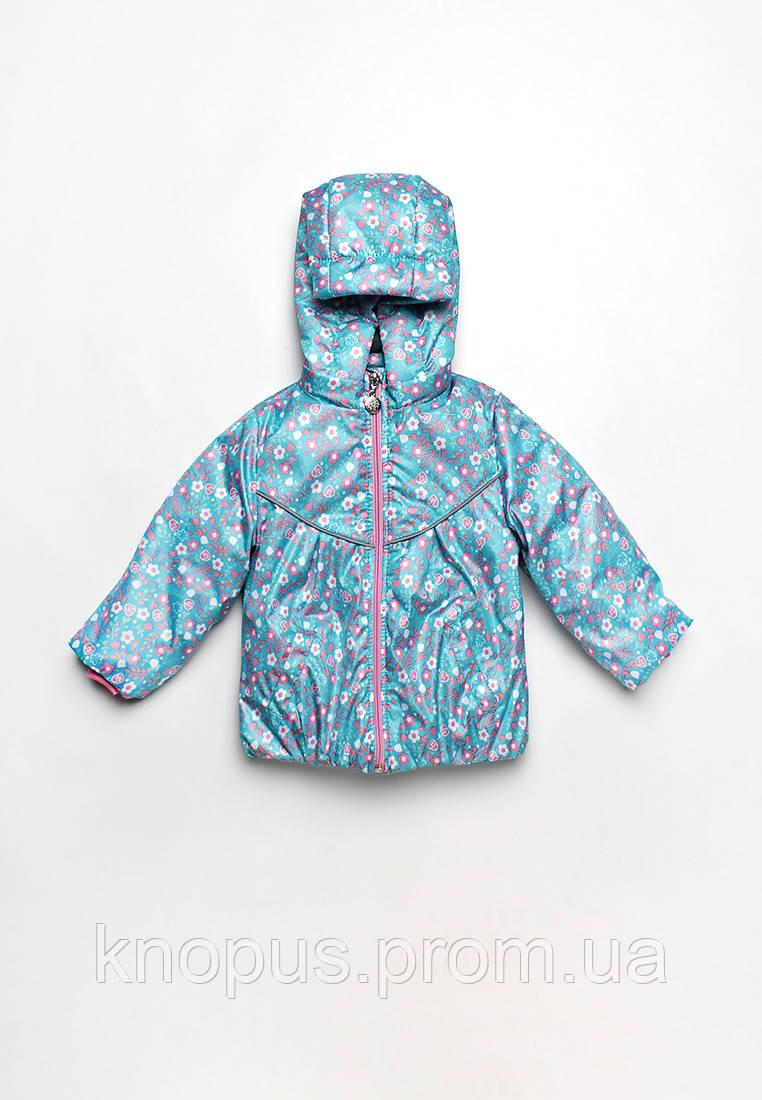 Куртка-ветровка детская для девочки Цветочки, голубая (размер 80-98), Модный карапуз