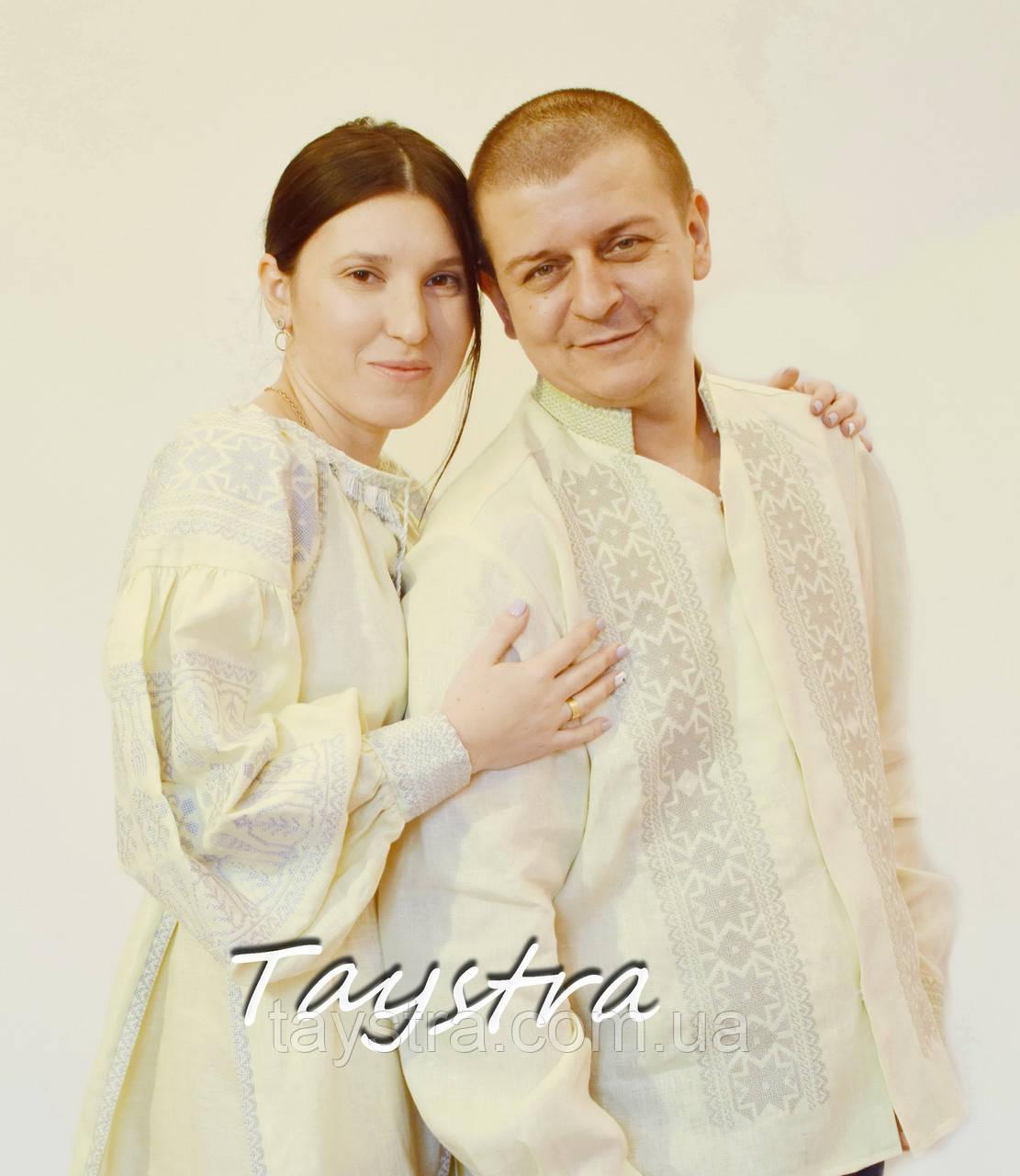 Парная одежда вышитая бохо лен для двоих, на свадьбу, вышиванки для семьи, вышиванка лен, этностиль