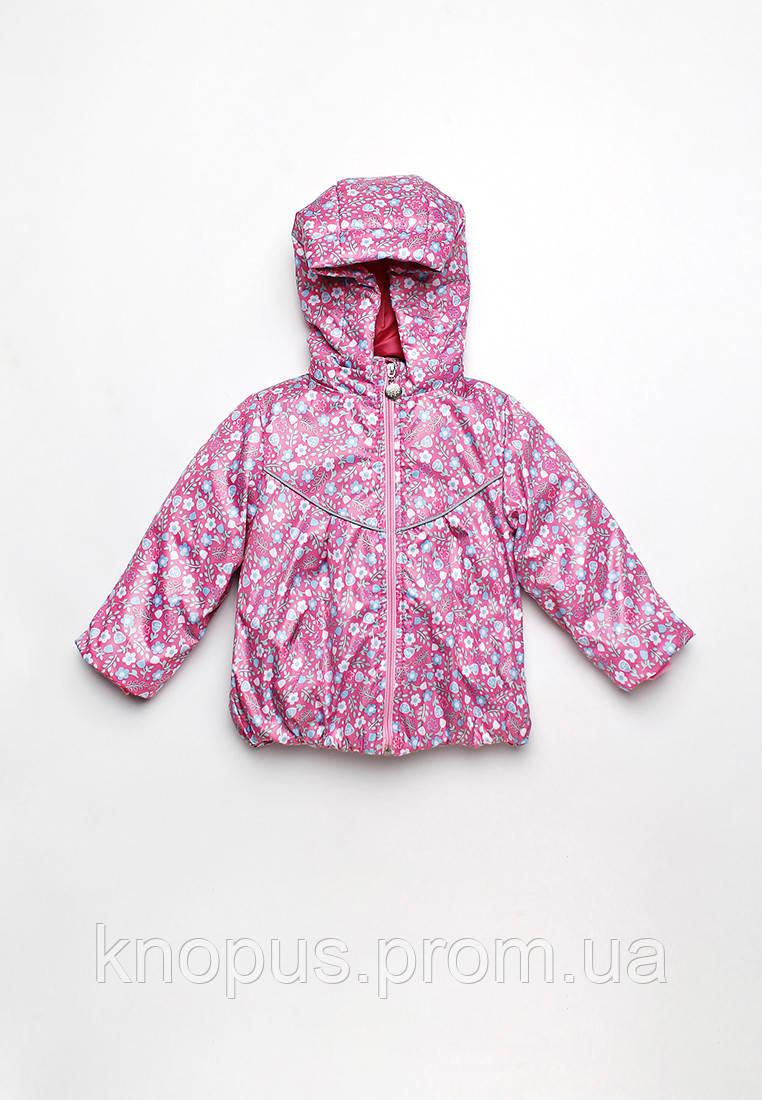 Куртка-ветровка детская для девочки Цветочки, розовая (размер 80-86), Модный карапуз