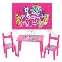 Детский столик и два стульчика М 1522 Розовый пони
