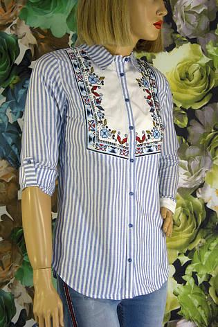 Жіноча  сорочка в полоску з вишивкою і бісером, фото 2