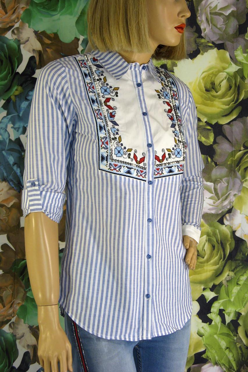 Жіноча  сорочка в полоску з вишивкою і бісером