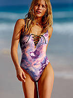 Сдельный купальник Victoria's Secret на завязках пастельный, фото 1