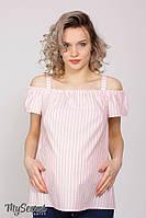 Трендовая блузка для беременных и кормления LUCIA, полоска розовая с молочным, фото 1