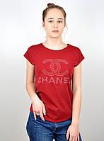 "Женская футболка ""камни CHANEL"" бордо, фото 1"