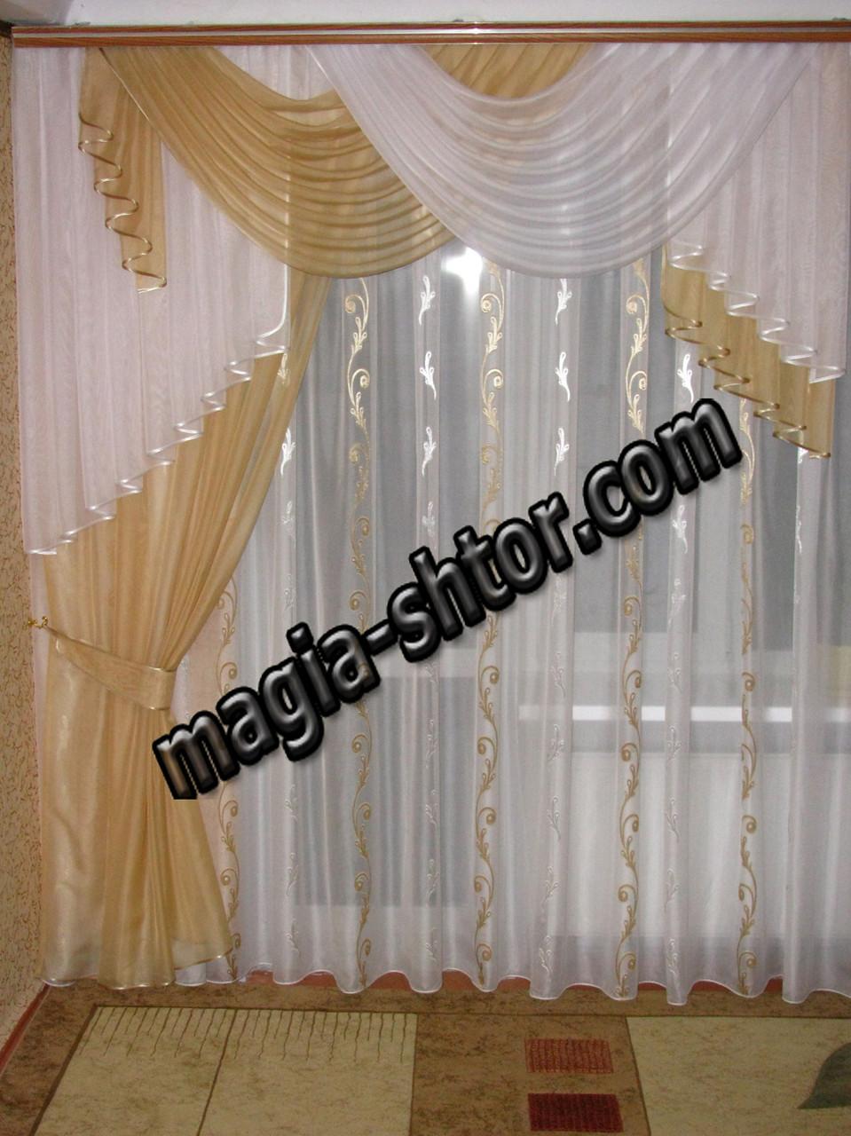 Шифоновый ламбрекен со шторой на карниз 2 метра