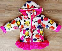 Демисезонная детская куртка Яркая Роза с отстегными рукавами