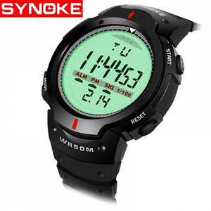 Synoke 61576 водонепроницаемые эл. часы с большим циферблатом. Черные
