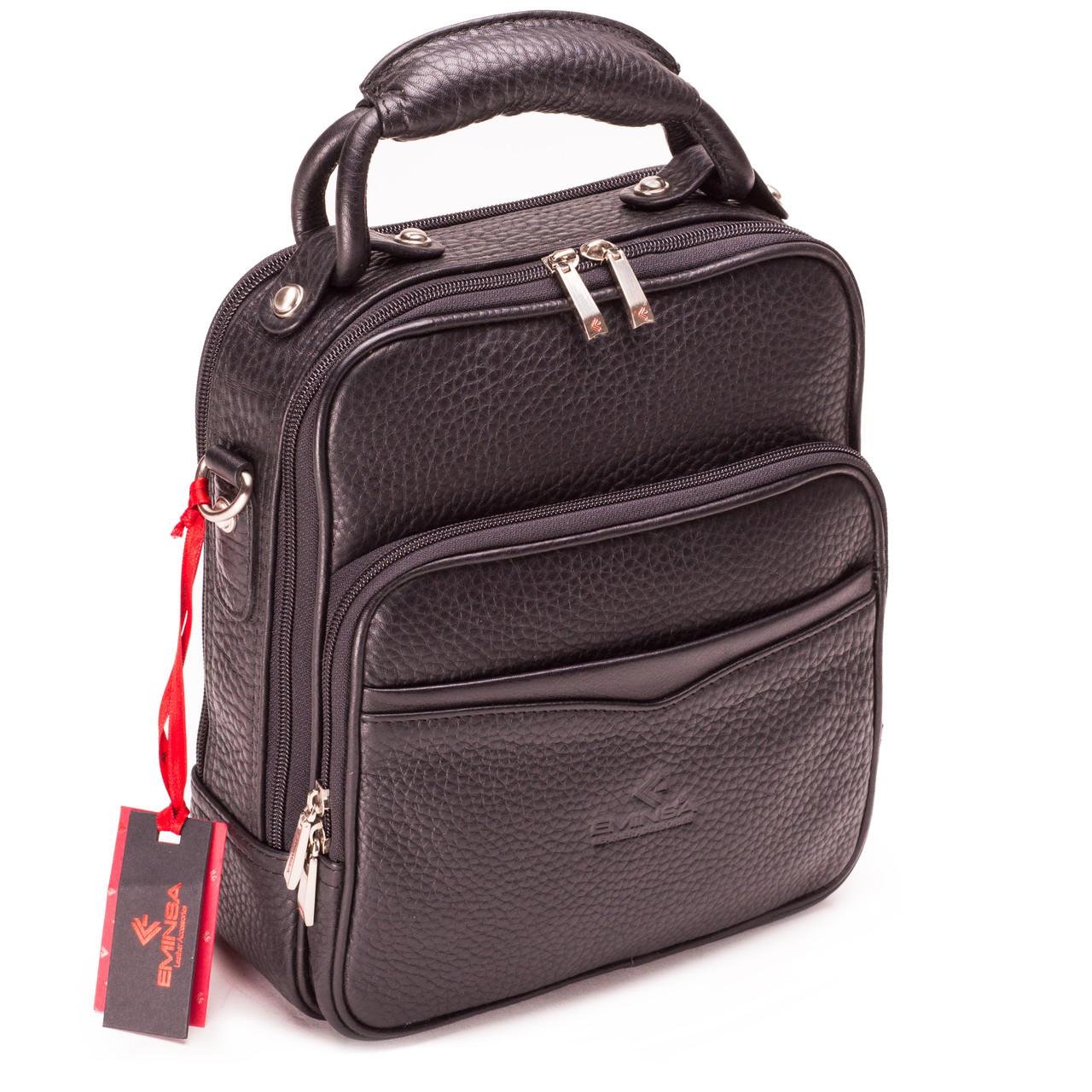 Мужская сумка кожаная черная Eminsa 6006-11-1