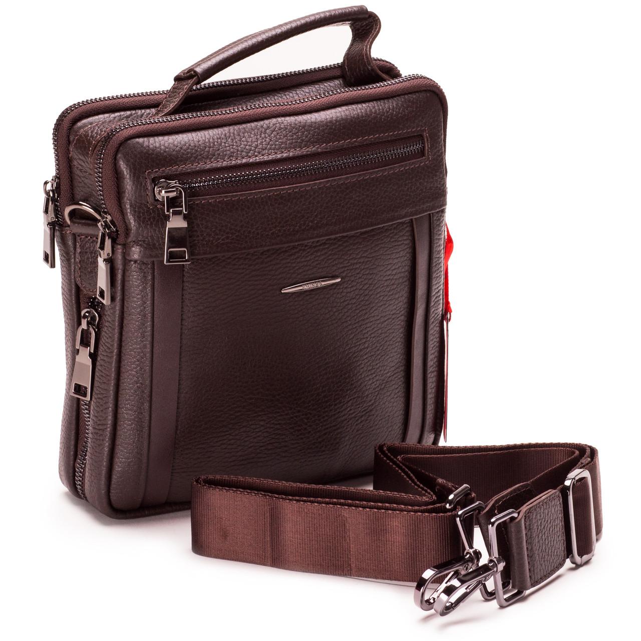 Мужская сумка кожаная коричневая Eminsa 6136-37-3