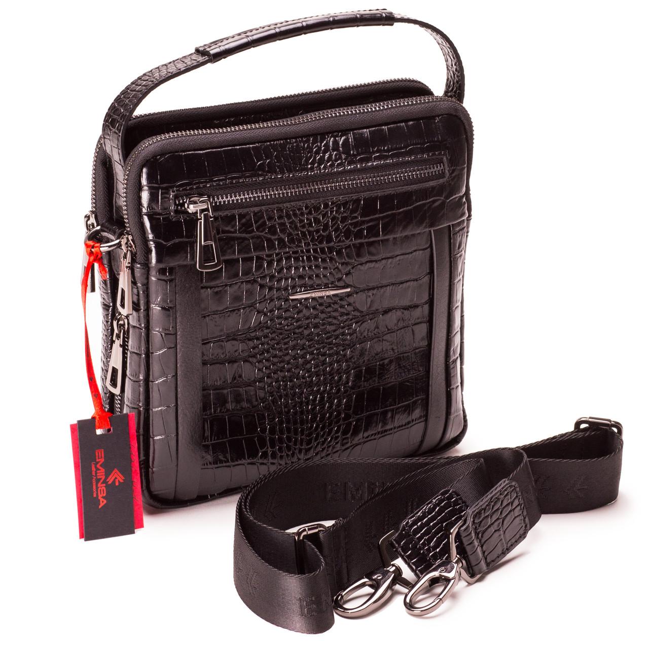 Мужская сумка кожаная черная Eminsa 6136-4-1