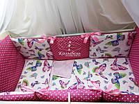 """Комплект в детскую кроватку """"Сиреневые бабочки """". Бортик на 4 стороны и постельное"""