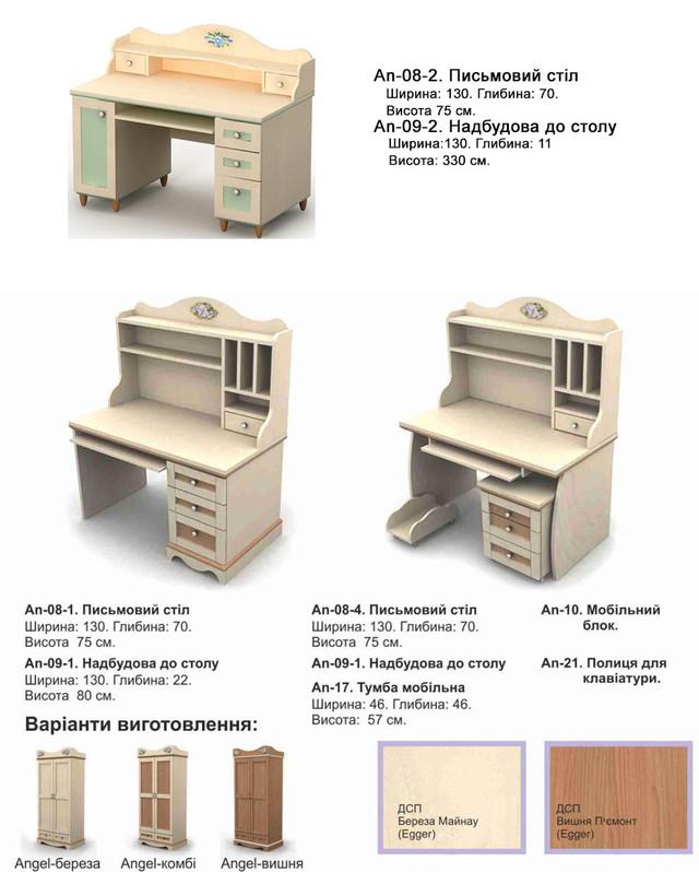 Стол письменный Angel ДСП береза (ассортимент мебели детской комнаты Angel и тонировка ДСП)