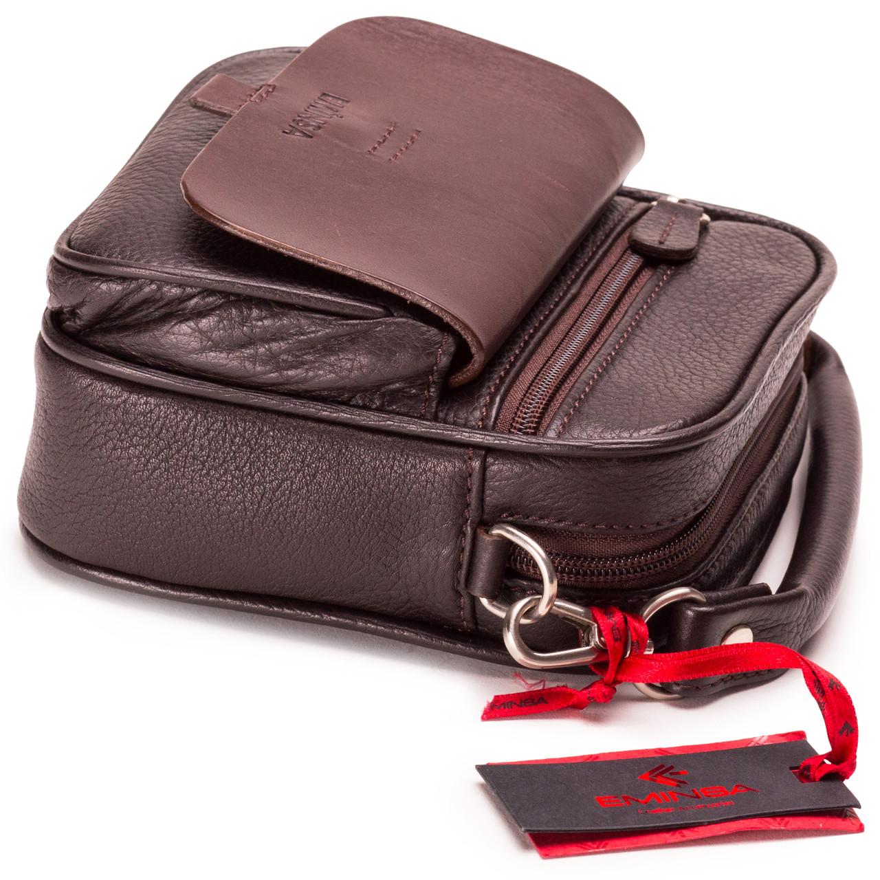 Мужская сумка барсетка кожаная коричневая Eminsa 6053-18-3
