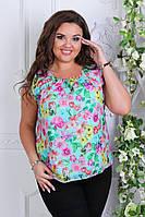 Блузка женская с цветами. 52, 54, 56рр Шифон. Батал. Мята, фото 1